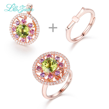 l&zuan 2.29ct Peridot 14K Gold Rings for Woman Trendy Two kinds of wear Rose Gold Wedding Ring Fine K-Gold Jewelry