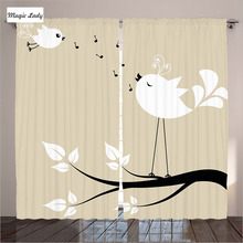 Drapery Curtains Decor Birds Branch Singing Love Songs Friend Couple Cream Black White Living Room B Curtains Drapery Decor Bir
