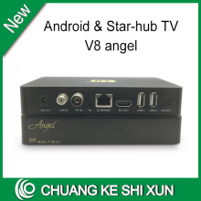 Singapore starhub tv receiver V8 Angel DVB-S2+DVB-T2+DVB-C+Android box 4K H.265 set top box with 1year starhub subscription