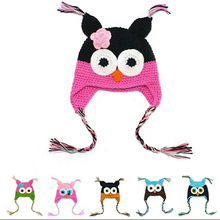 Toddler Baby Winter Knitted Crochet Hat Cute Owl Design Hat with Ear Flap(China)