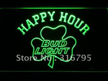 665 Bud Light Shamrock Happy Hour Beer Bar LED Neon Sign Wholesale Dropshipping On/ Off Switch 7 colors DHL