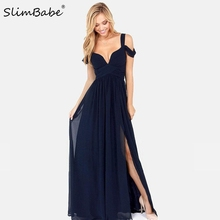 Slimbabe 2017 Fashion Summer Floor Length Solid Dinner Sexy Dress Side Slit V Neck Off Shoulder Female Gown Dres Night Club Wear
