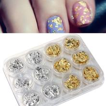 12 Pot/Set Nail Art Gold SL Paillette Flake Chip Foil DIY Acrylic UV Gel polish Tips 3D Design Sticker Manicure Pedicure Decal(China)