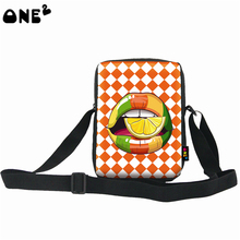 ONE2 design high quality special unique single shoulder messenger girls orange flaming lips bag for school students ladies women