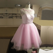 ZGS276 Actual Photos Real Sample Evening Gowns Girls Fashion Prom Short China Cheap Luxury Pearls Short Pink Prom Dresses 2017