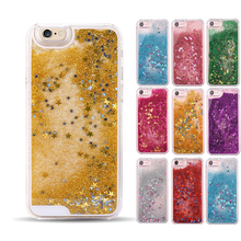 3D Liquid Glitter Meteor Sand Sequins Quicksand Design Transparent Hard Mobile Phone cases For iphone 4S 5 5S SE 6 6S 7 8 Plus(China)