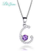 l&zuan 925 silver Woman Pendants Necklaces 0.74ct natural Gemstones Charm Letter C Zircon Fine Jewelry Chain Children gift(China)