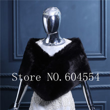 Stock Faux Fur Boleros Black Wedding Shawl Bridal Evening Party Wraps Shawl