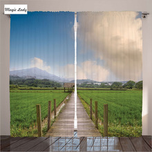 Curtains Kitchen Windows Living Room Farm House Decor Path Cloudy Sky Mountain Serenity Green Blue Beige 2 Panels Set 145*265 sm