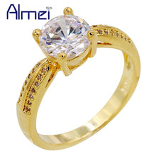 Almei 15%Off China Gold Color Crystal Wedding Silver Ring Solitaire Women Rings CZ Female Anel Jewelry Bijouterie Y3291(China)