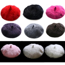 Fashion Women Sweet Warm Faux Rabbit Fur Beret Artist Baggy Beanie Winter Hat(China)