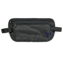Unisex Travel Security Black Zipped Money Bum Pouch Passport Waist Belt Bag