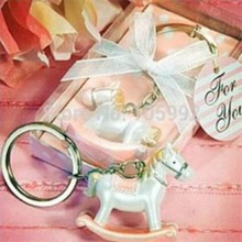 (DHL,UPS,Fedex)FREE SHIPPING+50pcs/Lot+Baby Birthday Party Souvenir For Guest Pink Rocking Horse Keychain Wedding Key Chain