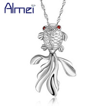 Almei 5%Off Animal Collar Necklace Fashion Jewelry 2017 New Cute Fish Crystal Big Pendants Girls Party Women Accessories N330(China)