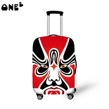 2016 ONE2 Design red beijing opera pattern cover apply to 22,24,26 inch polyester elastic protective case kids luggage cover
