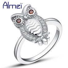 Almei Dropshipping USA Womens Jewellery Silver Color Rings Owl Cute Fashion Crystal Ring Animal Jewelry Korean Kids Gift J402