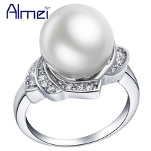 Almei Silver Rings for Women Simulated Pearl Ring CZ Diamond Jewelry Vintage Crystal Anillos Valentine's Day Bijoux Anel J383