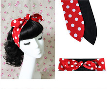 women vintage 50s white red polka dot patchwork bow headband rockabilly pinup style bandans hair scarf wire wrap accessories