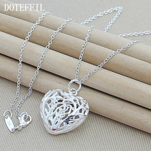 Fashion 925 Sterling Silver Necklace For Women Hollow Love Heart Shaped Pendants Necklaces Sterling Silver Jewelry N330(China)