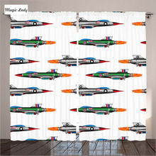Window Panel curtains Living Room Bedroom Jetfighters Rocket Aviation Bomber Missile UK Model White 2 Panels Set 145*265 sm