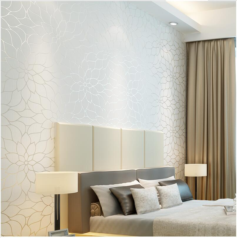 papel parede- Hot Sale Simple Moden Wallpaper 3D Big Flower Mural Non-woven Room Decor Wallpapers Fresh Wall Paper <br><br>Aliexpress
