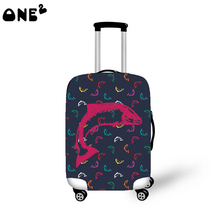 2016 ONE2 Design red fish pattern cover apply to 22,24,26 inch protective custom hot sale brand names cheap luggage cover