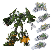 Original 5 in 1 Combine Transformation Robot Military fighter Plane Model Helicopter Alloy Toys for Children Boys Gift