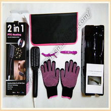 2016 Popular Ionic Hair Straightener Comb 2 In 1 Ionic Straightener Brush Bag And Gloves Free Hot Sale(China)