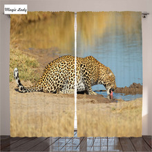 African Curtains Living Room Bedroom Leopard Panther Waterhole Safari Wild South Animal Decor Brown 2 Panels Set 145*265 sm