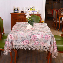 New Classical Style Cotton and Satin flower embroidery Table Cloth Tablecloth Table Cover High Quality  Free Shipping#S713