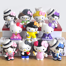 Hello Kitty Action Figure Toys, 11pcs/set 6cm Painted Cute Holidays Hello Kitty Figures Dolls PVC KT Gifts Toys Anime Brinqueods
