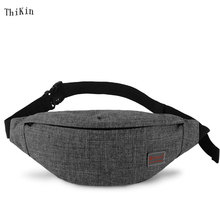 ThiKin Casual Functional Men Fanny Bag Women Waist Bag Solid Color Money Mobile Phone Bag Travel Small Bag with High Capacity