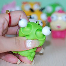 1Pcs Color Random Whole Person Vent Decompression Toys Gags Practical Jokes Toys Squeeze Small Toys Burst Eye Doll Keychain Toys