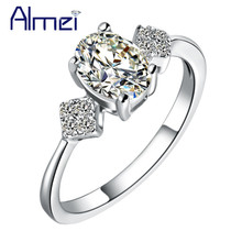Almei 15%Off Italian CZ Zircon Rings Micro Pave Genuine Crystal Ring For Mother's Day Gift/Anniversary /Engagement Ring J321(China)