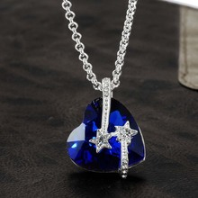 Women Jewelry Birthday Necklace Best Friends Star With Blue Crystal Titanic Heart Ocean Love Pendants Necklaces Gifts NL1430BL(China)
