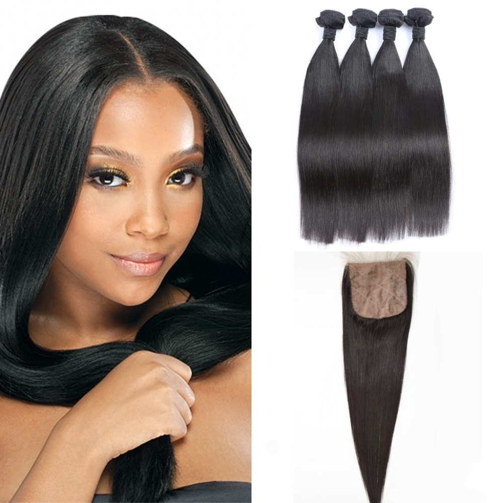 Rosa Hair 8A Brazilian Virgin Hair 4 Bundles Straight with Silk Base Closure 5pcs/lot Unprocessed Virgin Human Hair With Closure<br><br>Aliexpress