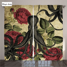Curtains Insulated Decor Collection Living Room Bedroom Octopus Roses Leaves Red Green Gray Beige 2 Panels Set 145*265 sm Home