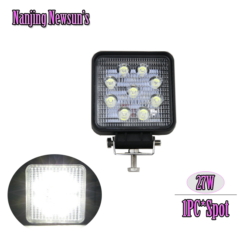 1PC 27W Spot Beam Led Work Light Square 9*3W 27W Working Light Black Housing For Off-road 4x4 Truck Boating Fishing Hunting UTE<br><br>Aliexpress