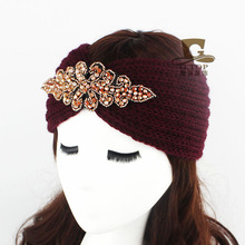 2016 new Fashion Women knitted headband Metal Jewel Accessory Winter Floral Turban crochet headwrap Beanie Headband G-184