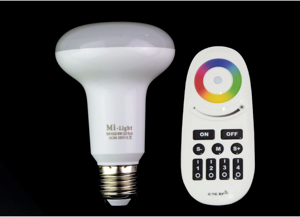 E27 9W Mi-light RGBWW LED Bulbs AC85-265V 110v 220v Dimmable Lamp Chandelier + 4-Zone Wireless RGB Controller<br>