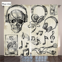 Beige Curtains Living Room Bedroom Sketchy Music Hipster Skull Headphones Record Mic Speakers Black 2 Panels Set 145*265 sm