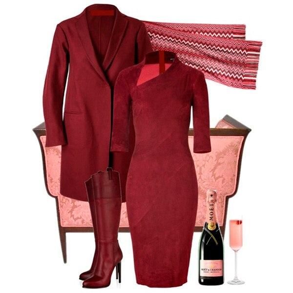 С чем носить платье бордового цвета