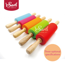 The Silicone Rolling Pin Cake Decorating Tool with Solid Wood Handles for the Kitchen Baking Decorations and Cake Tool(China)