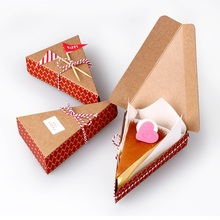 8.5*13.5*3.3cm 10 Pcs red triangle Kraft Paper Box Candy Gift Christmas Party fruit pie pizza cheese cake Gift Packing Boxes