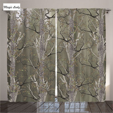 Blackout Curtains Drapes Living Room Bedroom Tree Wood Park Pattern Art Decor Collection Green Brown 2 Panels Set 145*265 sm