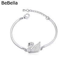 BeBella romantic swan crystal bracelet made with genuine Czech crystals for Valentine's Day gift(China)