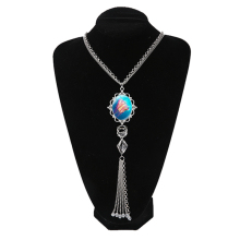 Jellyfish Pendant Long Tassel Necklace Jewelry Marine Life Necklace Aqua Blue Ocean Lover Gift Glass Dome Statement Necklace