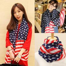 Drop Shipping Hot Sale Beauty Chiffon Printing American Flag Scarf Women Wraps Fashion Accessories 70*160CM SC-0047
