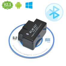 promotion! ELM327 V2.1 Bluetooth OBD2 Black Smart Car Diagnostic ELM 327 Interface with Free Software