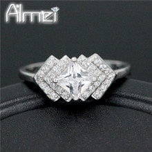 Almei USA Wholesale Lot Engagement Love  Ring for Women Korean Jewelry Girls Rings Gifts Big White Stone Bijoux Femme WX015